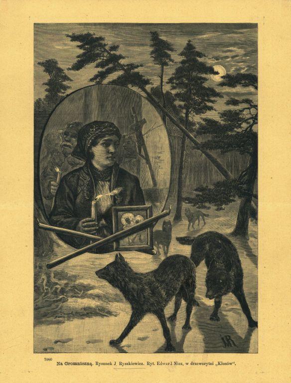 Rysunek przedstawia procesję ludzi. Idą ze świecami przez las. Na pierwszym planie kobieta ze świecą i obrazkiem Matki Boskiej. Całej grupie przyglądają się z oddali wilki